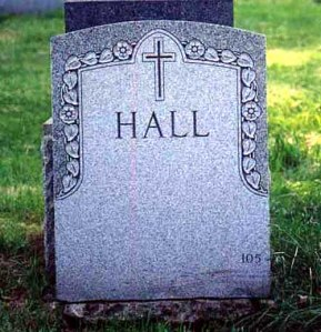 Hall's grave in Brooklyn