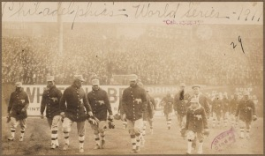 1911 Athletics leave the field (note the White Elephants on their jackets)