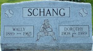 Schang's grave (note the image of a catcher in the center)