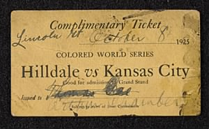 ticket to the 1925 Colored World Series